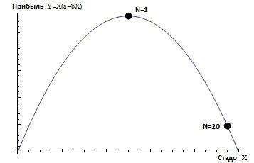 На этой картинке зависимость прибыли от величины стада. Точка N=1 - это второй случай, когда есть одно общее стадо, а точка N=20 - это первый случай с двадцатью независимыми фермерами.